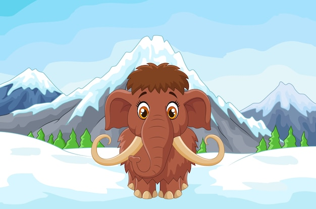 Cartoon mamouth in the ice mountain Premium Vector
