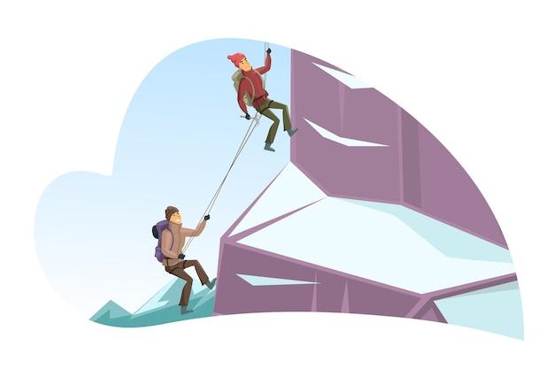 雪に覆われた崖を登る漫画の男性と女性のキャラクター Premiumベクター