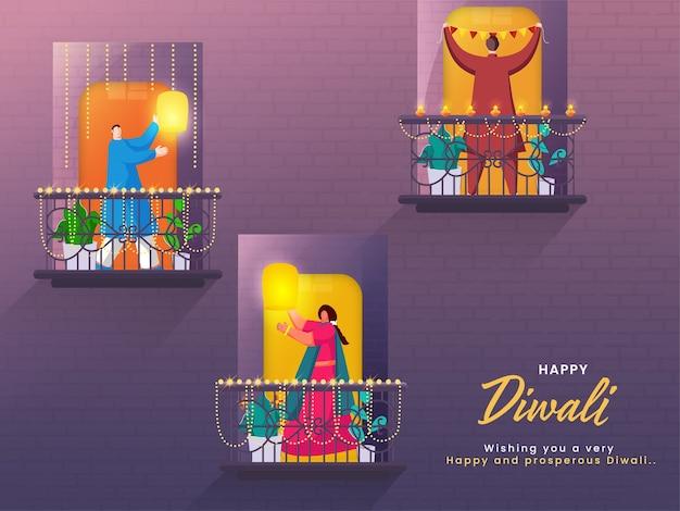 Мультфильм мужчина и женщина, стоя на их декоративном балконе для счастливого празднования дивали. Premium векторы
