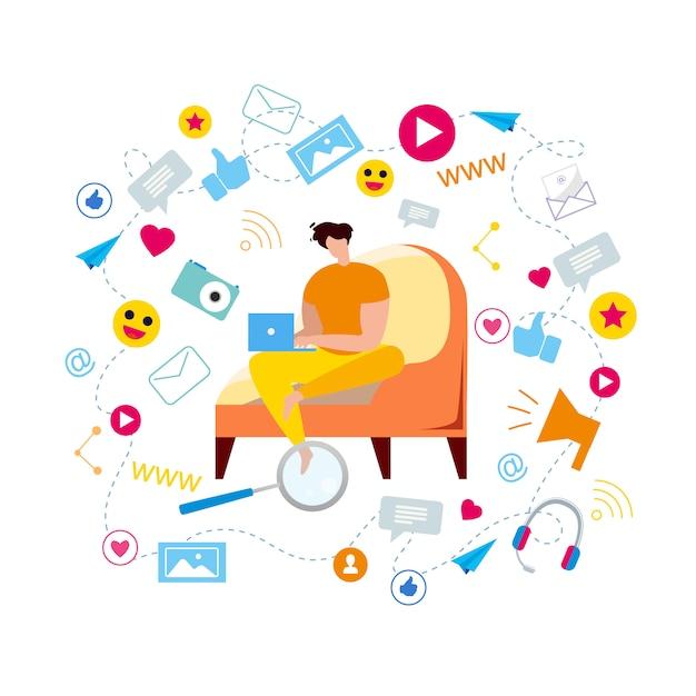 Cartoon man in armchair type in notebook browse Premium Vector