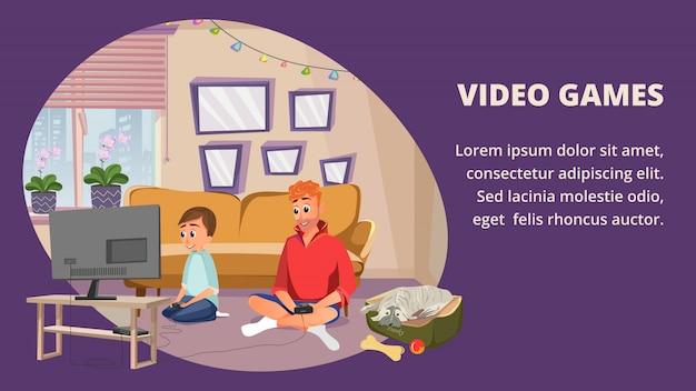 Cartoon man boy play video game dog pet watch Premium Vector