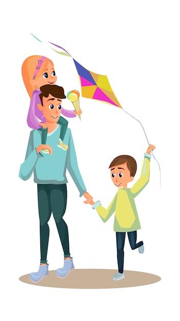 Cartoon man carry girl icecream kid with kite toy Premium Vector