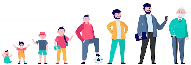 Cartoon man in different age flat illustration Free Vector