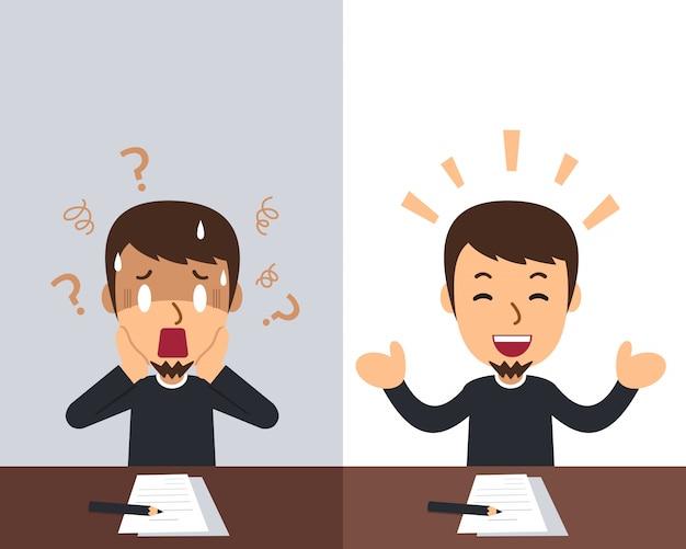 Cartoon a man expressing different emotions Premium Vector