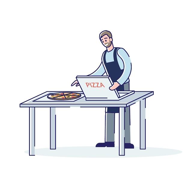 Мультяшный человек в фартуке, упаковка пиццы в картонную коробку для службы доставки еды Premium векторы