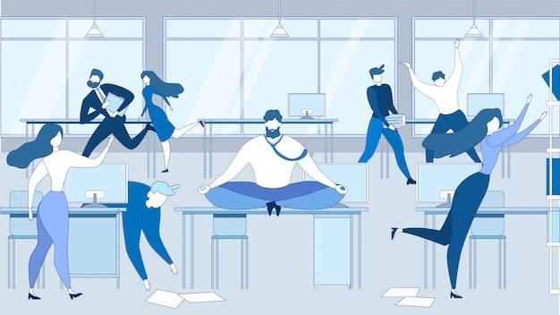 Cartoon man meditate office table people stressed Premium Vector