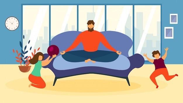 Cartoon man meditate on sofa, children play game indoors living room illustration Premium Vector