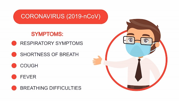 Cartoon man in an office suit points to a list of coronavirus symptoms. character with a protective mask on his face. virus protection infographics. Free Vector