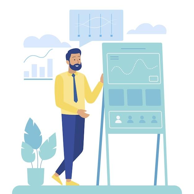 Cartoon man performs analytic report on dashboard Premium Vector