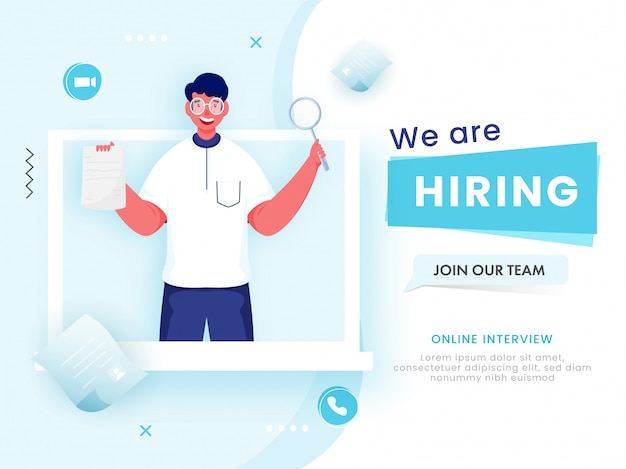 Cartoon man searching candidate from laptop for we are hiring, join our team. Premium Vector