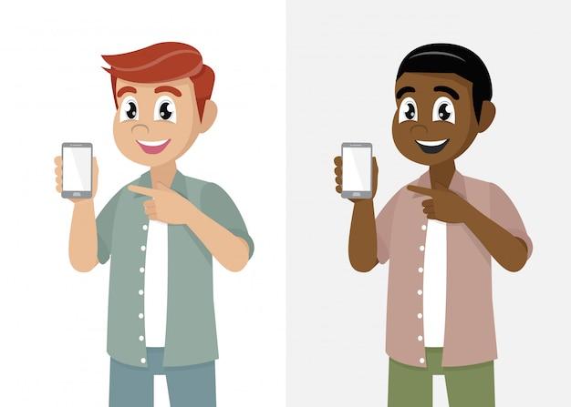 Cartoon man showing phone screen Premium Vector