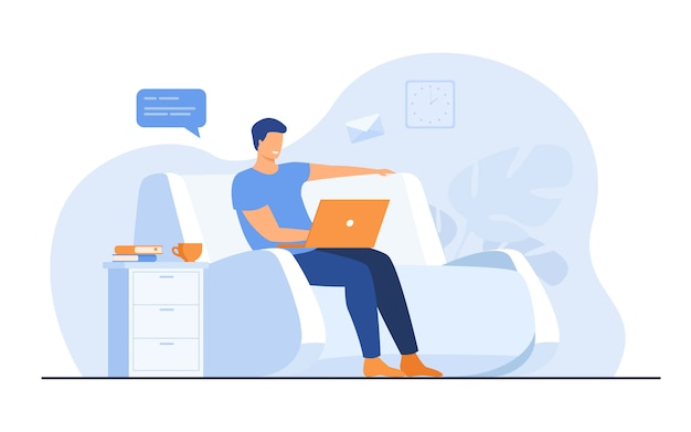 Cartoon man sitting at home with laptop Free Vector