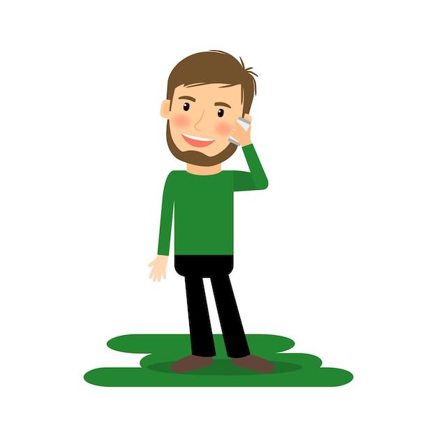 Мультфильм человек разговаривает по телефону Premium векторы