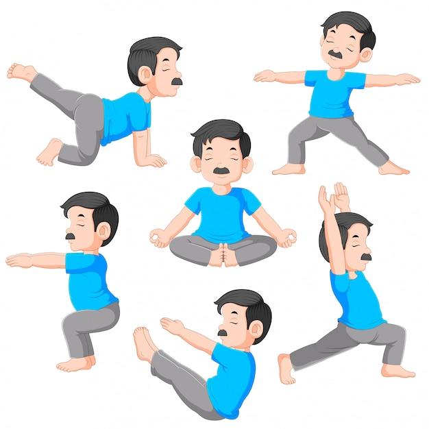 Cartoon man in various poses of yoga Premium Vector