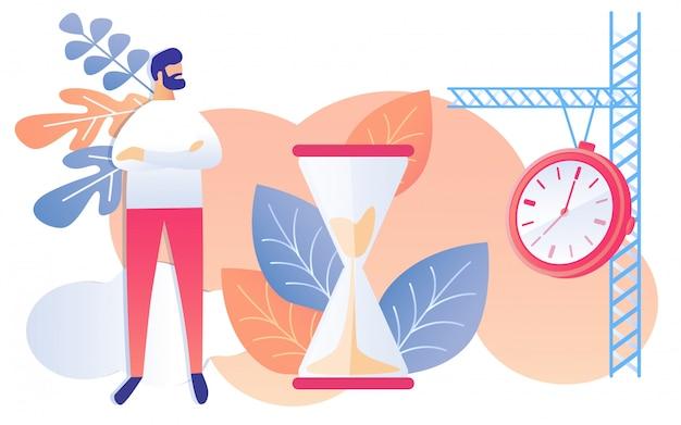 Cartoon man with hands crossed watch hourglass Premium Vector