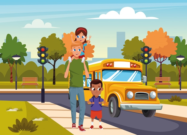 Cartoon Man With Kids Walking In The Street Over School Bus And