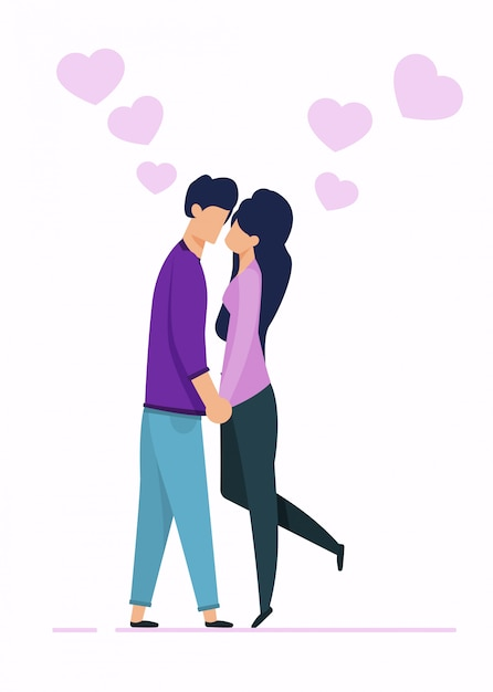 Cartoon man and woman characters in love kissing Vector