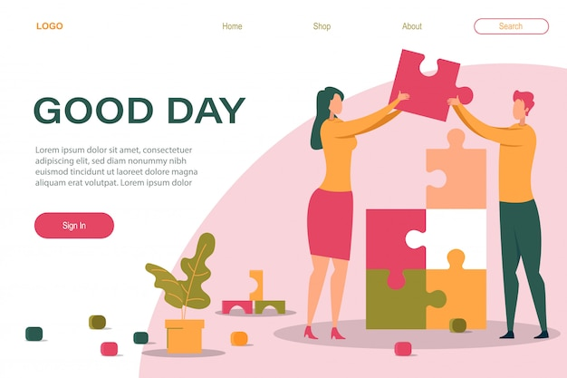 Cartoon man woman holding puzzle piece in hand landing page template Premium Vector