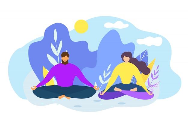 Cartoon man and woman meditate outdoors Premium Vector