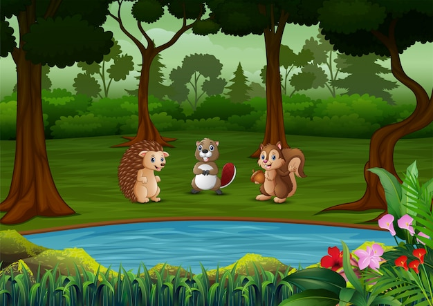 Cartoon many animals in the forest Premium Vector
