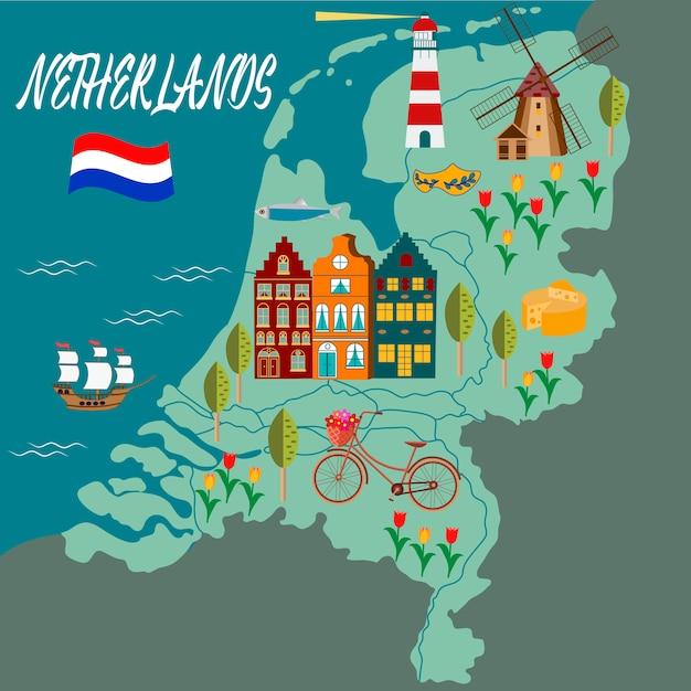 Cartoon map of holland Premium Vector
