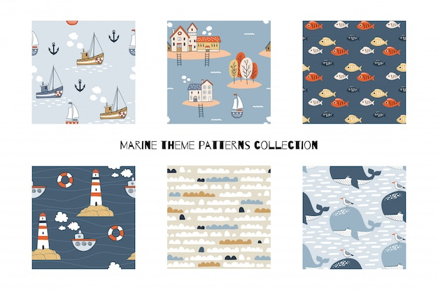 Cartoon marine seamless patterns collection. hand drawn  illustration. set including six designs with boats, lighthouse, clouds, whales and fishes. Premium Vector