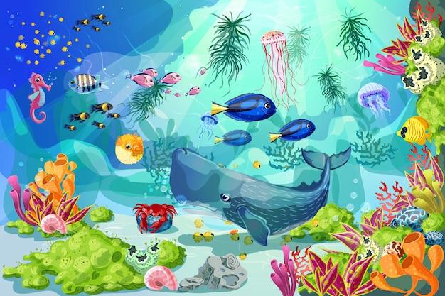 漫画海洋水中風景テンプレート 無料ベクター