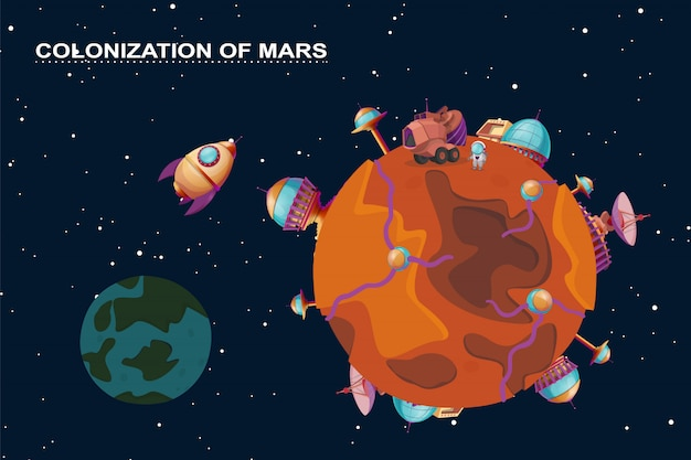 Cartoon mars colonization concept. red planet in space, cosmos with colony buildings Free Vector