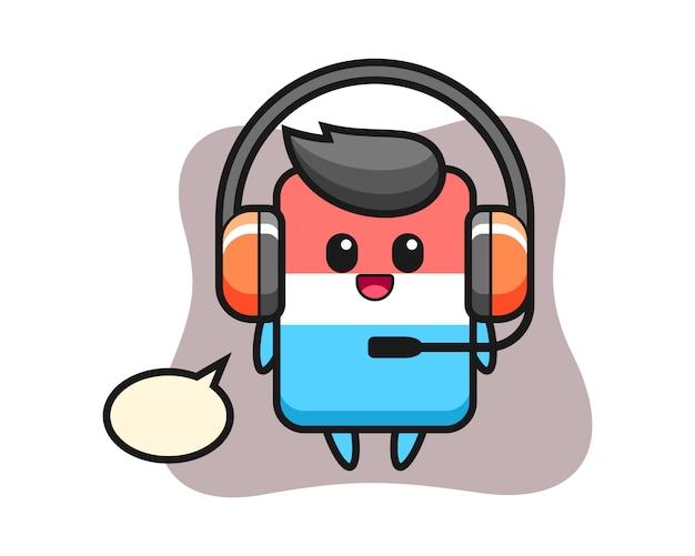 Cartoon mascot of eraser as a customer service, cute style , sticker, logo element Premium Vector