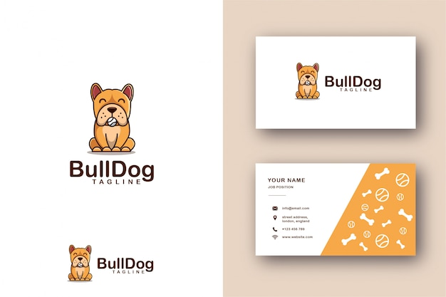 Cartoon mascot logo of bulldog and business card template Premium Vector