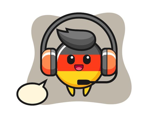 カスタマーサービスとしてのドイツの旗バッジの漫画のマスコット Premiumベクター