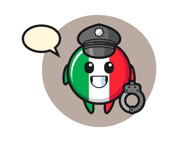 警察、かわいいスタイル、ステッカー、ロゴ要素としてイタリアの旗バッジの漫画のマスコット Premiumベクター