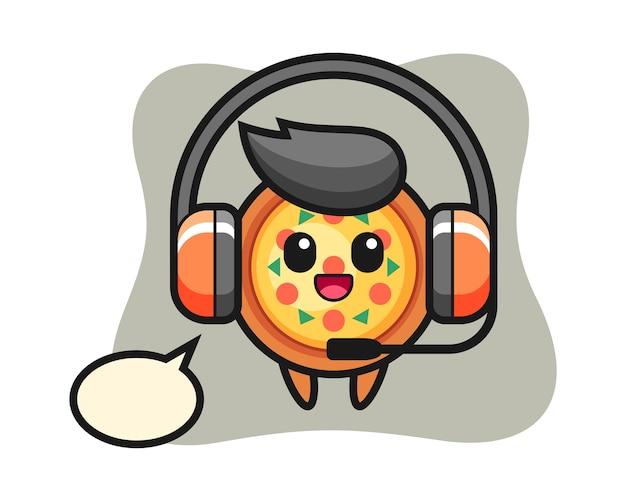 カスタマーサービスとしてのピザの漫画のマスコット Premiumベクター