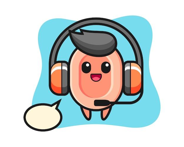 Cartoon mascot of soap as a customer service, cute style  for t shirt, sticker, logo element Premium Vector