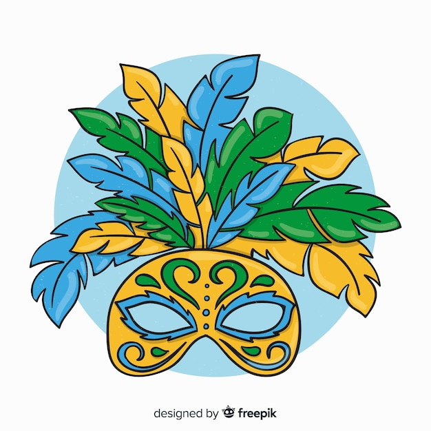 Cartoon mask brazilian carnival background Free Vector