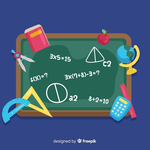 Cartoon math blackboard background Free Vector