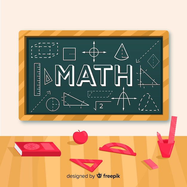 Cartoon math concept background Free Vector