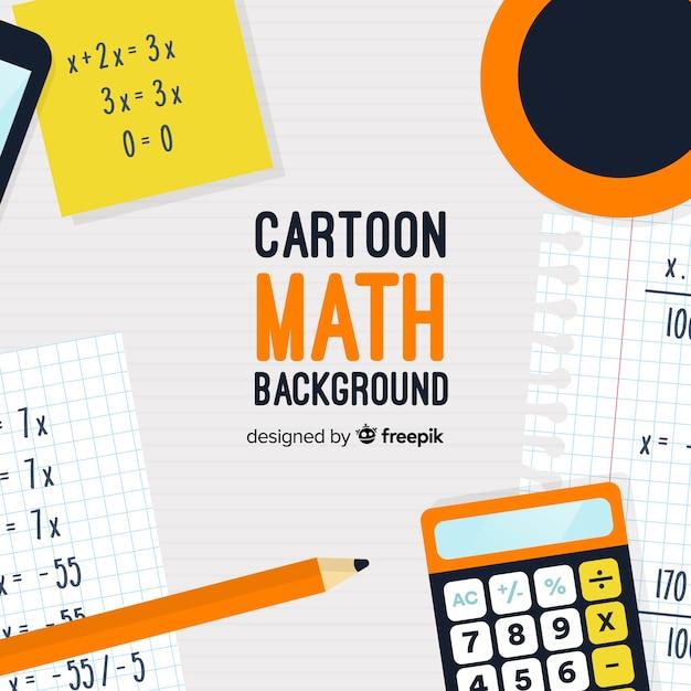 Cartoon math concept background Free Vector