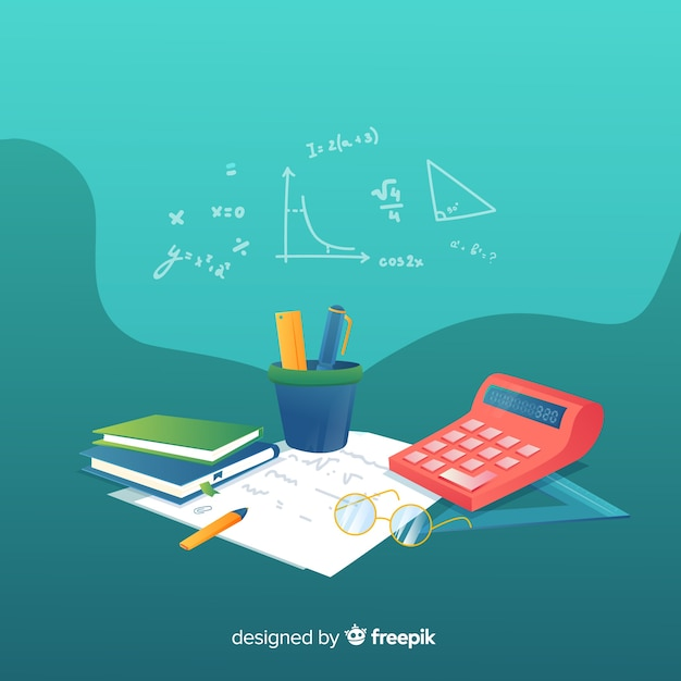 Cartoon math elements background Free Vector