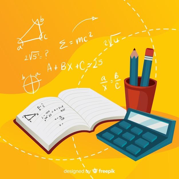 Cartoon math elements background Free Vector