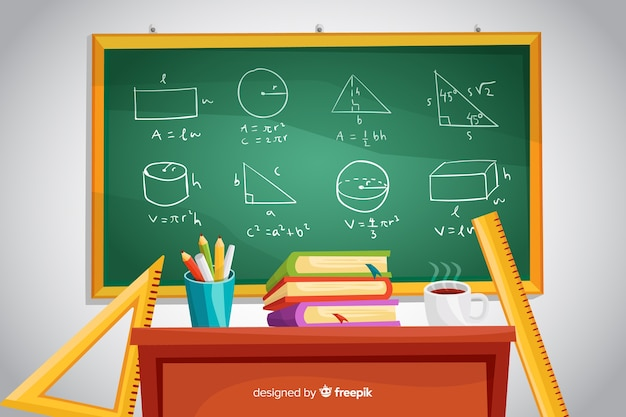 Cartoon mathematics background with chalkboard Free Vector