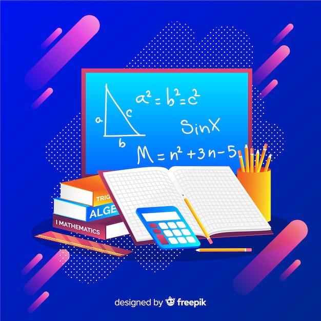 Cartoon maths elements background Free Vector