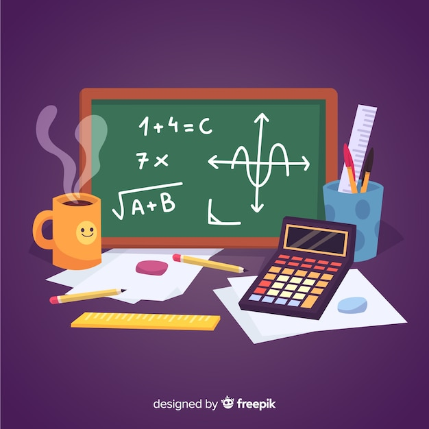 Cartoon maths material background Free Vector