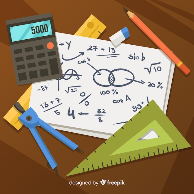 Cartoon maths material background Free Vector