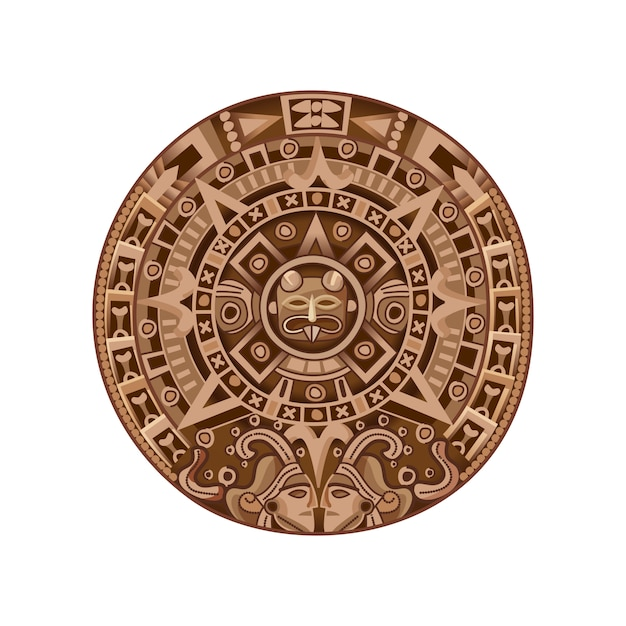 Calendario maya dei cartoni animati Vettore gratuito