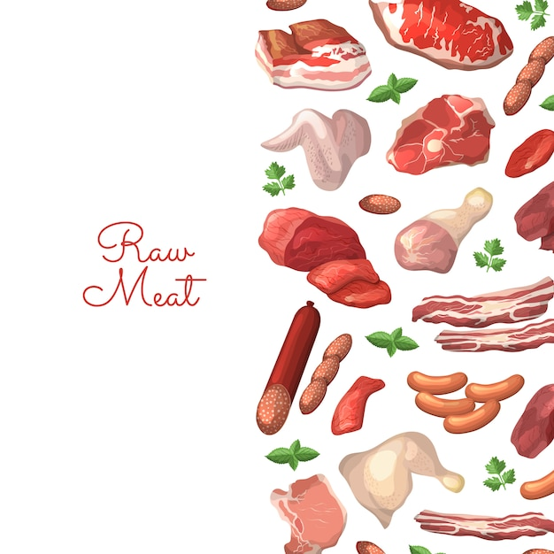 Cartoon meat elements with place for text Premium Vector