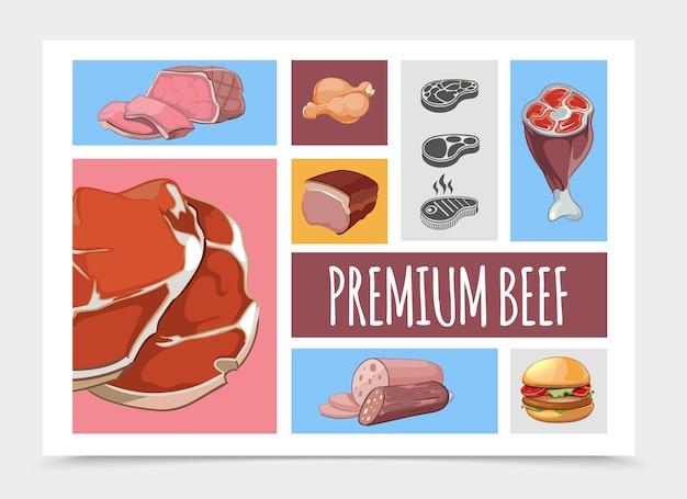 만화 고기 음식 컬렉션 그림 무료 벡터