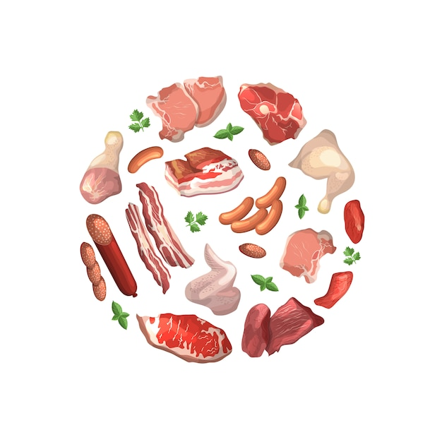 Cartoon meat pieces gathered in circle illustration isolated on white Premium Vector