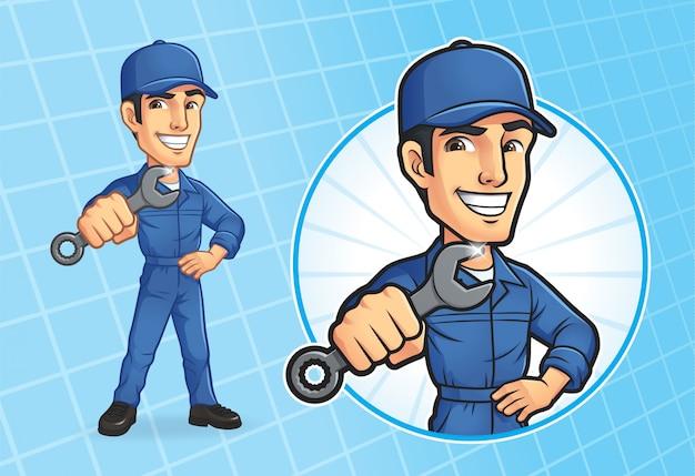 Cartoon mechanic character Premium Vector