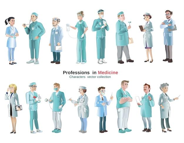 Набор медицинских персонажей мультфильма Бесплатные векторы